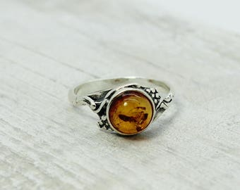 Small Amber ring with silver ornate sterling silver round shape Baltic amber jewelry handmade cognac  or honey colors genuine amber stones