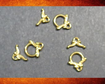 Clasps, Toggle - 3 sets of Tiny Bright Gold Toggle Clasp Sets. #FIND-040