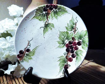 """8"""" Hand Painted Decorative Plate with Grape Theme Hand Painted"""
