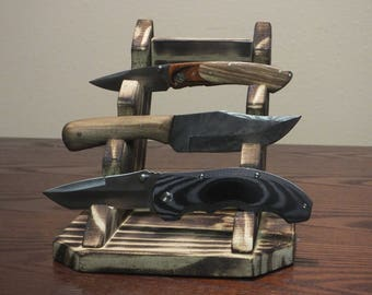 Folding Knifes Display Rustic Style, knive display, reclaimed wood, burned wood, weathered