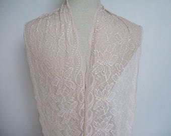 """3 yards light beige french lace trim (N139)/ 8"""" wide stretch lace trim by the yard"""