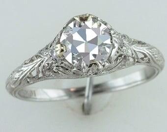 Art Deco GIA Certified .87ct Old European Cut Diamond Platinum Engagment Ring