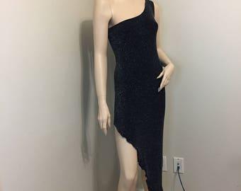 """Vintage Black """"Versace"""" One Shoulder Black Sparkly Dress"""
