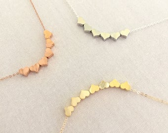 Custom Tiny Heart Necklace, Family Necklace, Number of Heart, Rose Gold Heart, Sterling Silver, Gold Heart, Grandma Jewelry, Adoption Gift