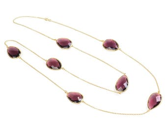 Hydra Collection Gold Long Chain Necklace Raspberry Jam