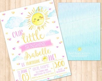 Sunshine themed birthday, You are my sunshine, Our little sunshine // Watercolor // First Birthday // PRINT YOUR OWN