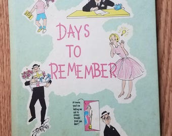 "Vintage 1961 ""Days to Remember"" Book, Birthdays, Anniversaries etc."