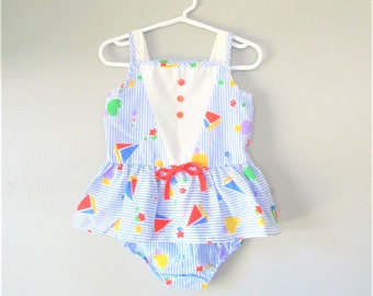 Vintage 1970's Baby Girl Romper Set / 2-Piece Sailor Dress and Diaper Cover Outfit / Size 18 Months