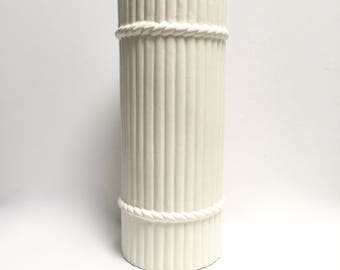 White ceramic umbrella stand with rope details | large vintage vase | mid century faux bamboo | made in Spain