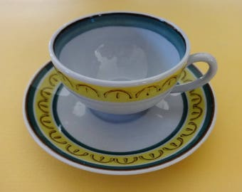 Vintage Arabia of Finland Crown Band Demitasse Cup and Saucer