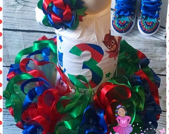 Complete pj mask tutu set with bling shoes
