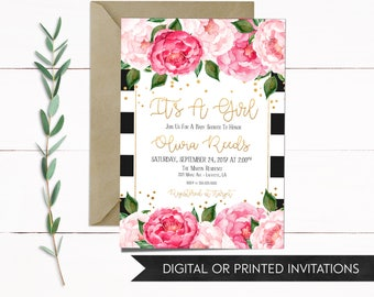 Girl Baby Shower Invitation, It's A Girl Invitation, Baby Shower Invitation, Floral Baby Shower Invitation, Printable Invitations