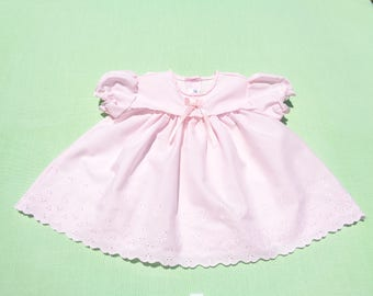 vintage alexis made in united states baby girls dress size 6 months see measurements pink with eyelet design