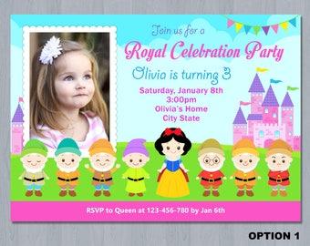 Snow White Photo Invitation, Snow White invitation Photo, Snow white birthday invitation photo, Snow white invitation printable
