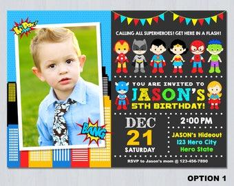 Superhero Photo Invitation, Superhero Birthday Party Invitation