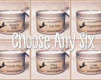 PICK ANY 6 Equestrian Themed Soy Candle Tins, Equestrian Collection! - Horse Lover, Equestrian Gift, Equestrian Candle, Horse Candle