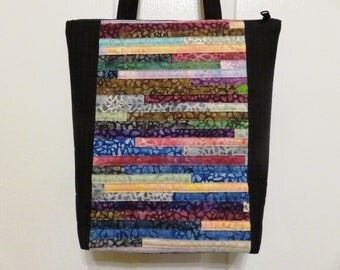 Quilted and Pieced Patchwork Tote, Zipper Tote (ZT019)