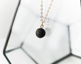 Dainty Lava Pendant • Essential Oil Necklace Diffuser Aromatherapy - Simple Minimalist Single Lava Bead Diffuser Oil Necklace