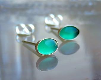 green stud earrings - green onyx post earrings - sterling silver earrings