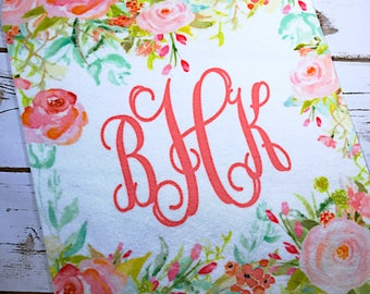Monogram baby blanket girl, new baby gift, personalized floral blanket for baby, custom swaddle blanket, watercolor flowers baby shower gift