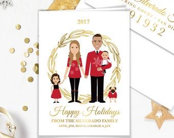 Family Portrait Holiday Card / Christmas Card Portrait, Couple, Children, Pet Portrait Illustration ▷ Printed Heavy Paper {or} Printable