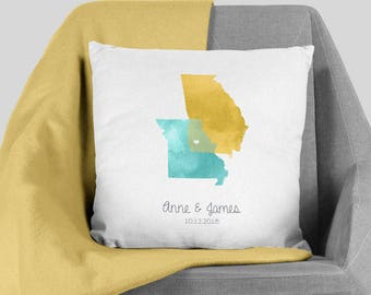 State Map Pillow / States Map Illustration / Custom Watercolor Map Polyester Pillow Christmas, Housewarming ▷Pillowcase {or} Stuffed Pillow
