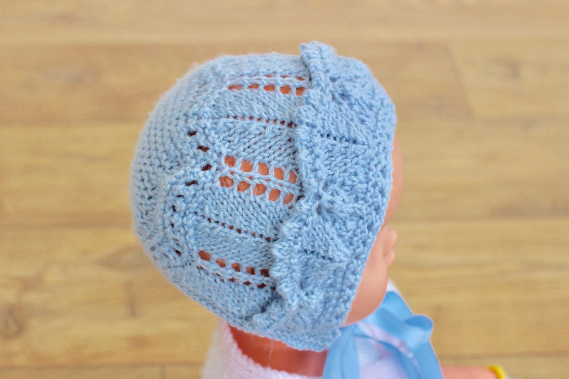 Christening Hat Baby Boy Hat Blue Bonnet Blue Baby Hat Lacy Baby Hat