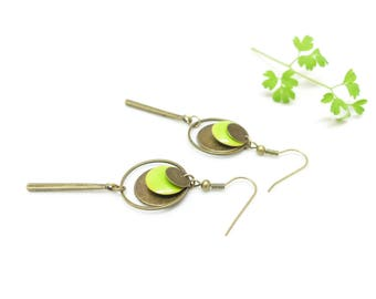 Retro earrings circle dangle earrings, Lime Green Apple green vintage earrings.