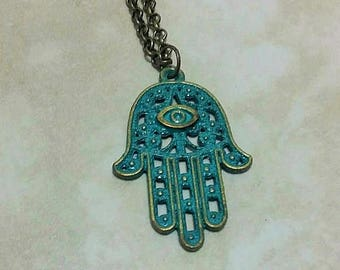 Patina Hamsa Hand Antique Bronze Charm Necklace