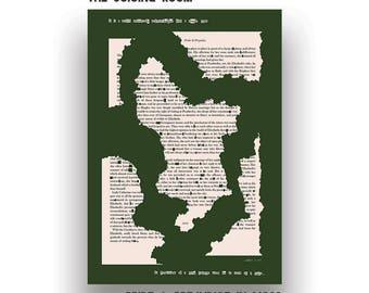 Pride & Prejudice - Derbyshire A5 Greeting Card - Jane Austen - Green - Book Art - Literature