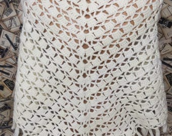 Crochet Wrap Crochet Shawl Crochet Lace Shawl Bridal Wrap Bridal Shawl Wedding Shawl Ivory Shawl Wedding Gift Bridal Shower Gift Knit Shawl