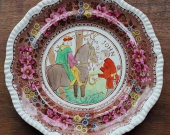 Vintage W.T. Copeland and Sons Stoke on Trent Robinhood Porcelain Plate Rare
