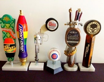 Beer Tap Handles Displays-Tap Handle Stand-Marble Base for Tap Handle-Bar Tapper-Kegerator Pull- Homebrew Beer Handle-Beer Gifts