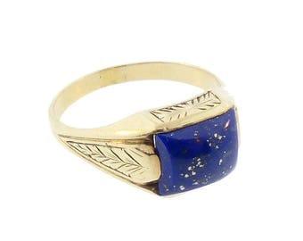 14K Gold Art Deco Egyptian Revival Lapis Man's Ring