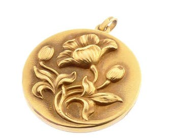 Art Nouveau 14K Gold Poppy Locket