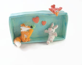 Little fox and rabbit board