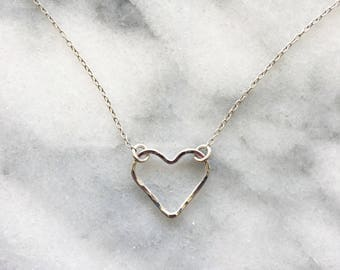 Hammered Wire Heart Necklace