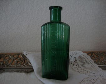 "Reserved for Jonathan Antique 1890's English Emerald Green ""Not To Be Taken"" Victorian POISON ribbed glass BOTTLE Bottle Vase Zen Home 5"""