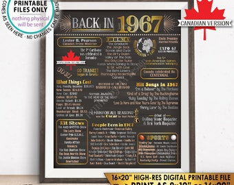 "CANADIAN 1967 Flashback to 1967 History Back in 1967, Birthday Anniversary Reunion Retirement, Chalkboard Style PRINTABLE 16x20"" Sign <ID>"