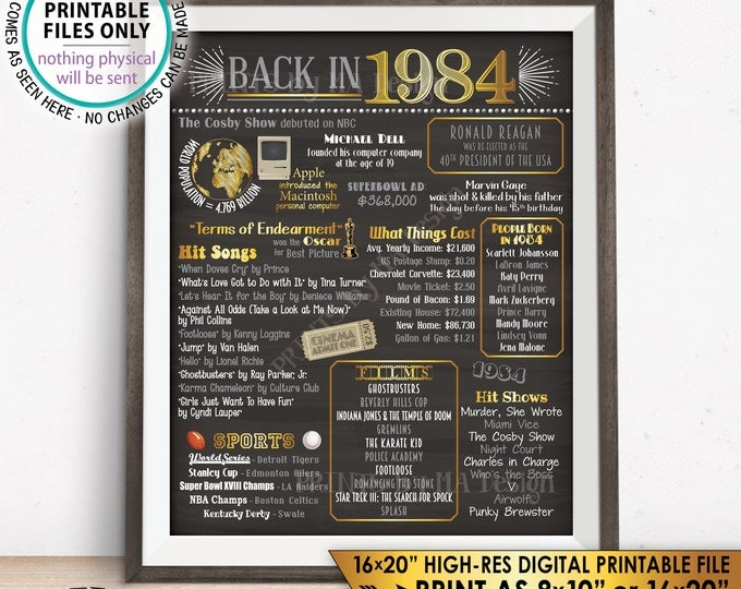 "1984 Flashback Poster, Flashback to 1984 USA History Back in 1984, Birthday Anniversary Reunion, Chalkboard Style PRINTABLE 16x20"" Sign <ID>"