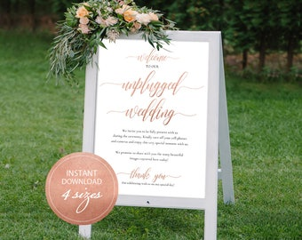 PDF Welcome Sign Rose Gold Calligraphic Unplugged Wedding Unplugged Ceremony Unplugged Sign Instant download DIY Printable Sign #DP140_02