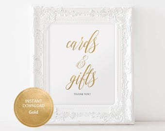 Wedding Gifts & cards Sign 8x10 Gold color Calligraphy Sign DIY Wedding Ceremony Sign Printable Image Digital INSTANT DOWNLOAD #DP130_10