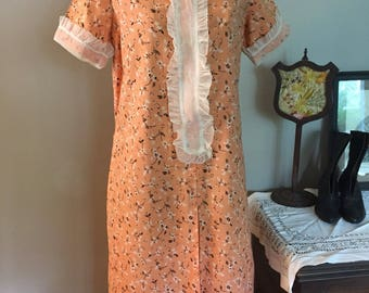 1920's/30's Cotton Day Dress with Organdy cuffs and Bib