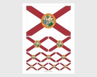 Florida State Flag Weatherproof Sticker Sheet / 10 Flag Stickers Various Sizes