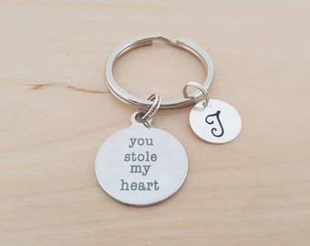 You Stole My Heart Charm -  Love Key Chain - Personalized Initial Keychain - Personalized Gift - Gift for Him / Her