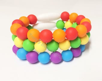 Toddler Bracelet - SET of THREE - Silicone Chew Beads - Fidget Toy - BPA Free - Food Grade - Kids Bracelet - Rainbow Dress Up - Sensory
