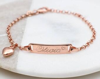Personalised Rose Gold Christening Bracelet (HBJB01R / 32R)