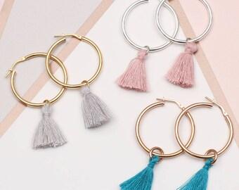 Gold or Sterling Silver Tassel Hoop earrings (HBE20)