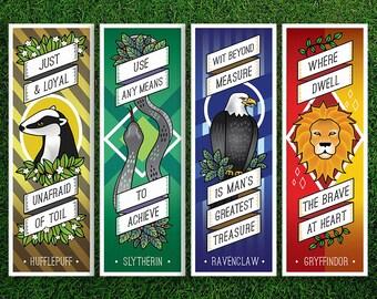 Long Bookmark | Gryffindor Hufflepuff Ravenclaw Slytherin Hogwarts Houses Bookmarks Pack of 4 Sorting Hat Quidditch Harry Potter Bookmarks