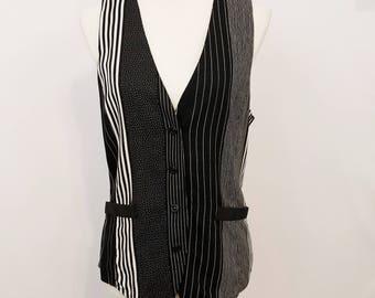 Vintage 80's Peirre Lamonte Black & White Button Down Vest -